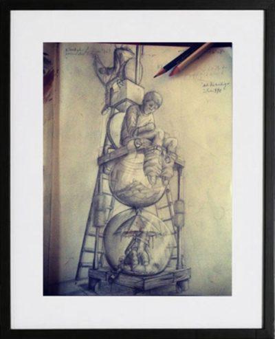 ach du heilige scheisse sketch zeichnung sinntraeger poster druck Malerei art steve bauer leipzig
