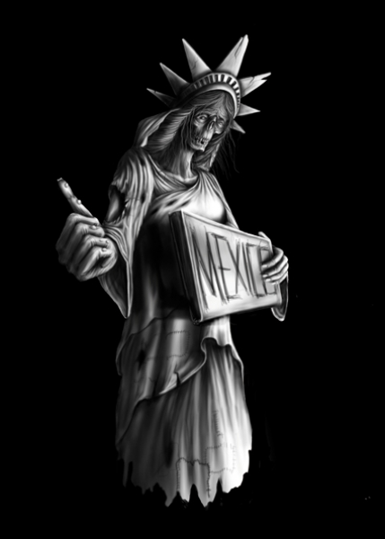 Signs of Liberty Trump Mexiko Mauer Freiheitsstatue sinntraeger poster druck leinwand digitale illustration art steve bauer leipzig